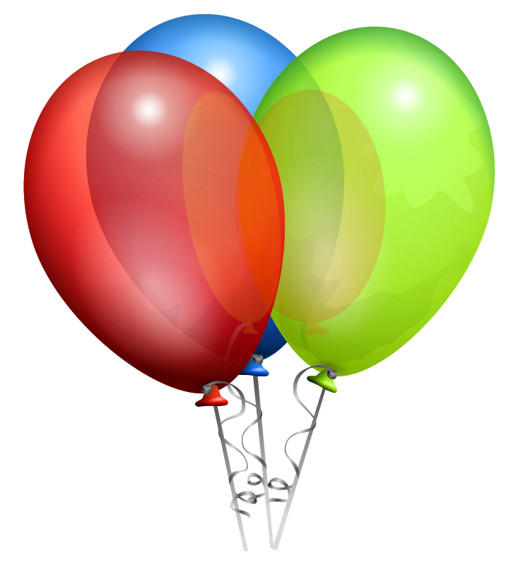 Three balloons on ribbons